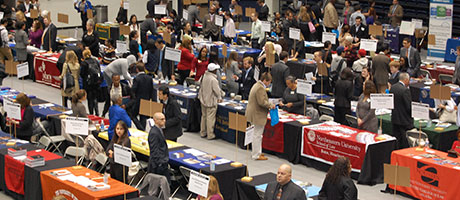 Law school representatives speak with Law School Fair attendees